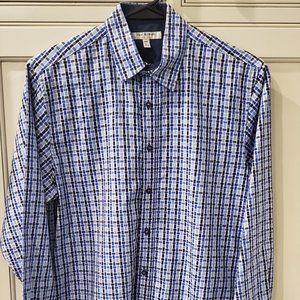 Boys Isaac Mizrahi blue plaid dress shirt size XL